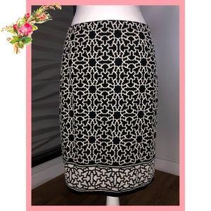 🌸 Max Edition Printed Brown White Midi Skirt